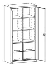 99552488 Szafa warsztatowa, 6 półek, 4 szuflady (wymiary: 1950x1000x500 mm)