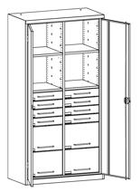 99552493 Szafa warsztatowa, 4 półki, 8 szuflad (wymiary: 1950x1200x500 mm)