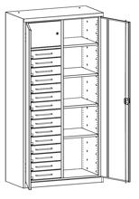 99552496 Szafa warsztatowa, 4 półki, 15 szuflad (wymiary: 1950x1000x500 mm)