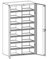 99552514 Szafa warsztatowa, 16 skrytek, 2 drzwi (wymiary: 1800x1000x500 mm)
