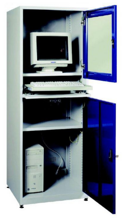 99552538 Szafka pod komputer przemysłowy, drzwi otwierane jednocześnie, z wentylatorem i listwą zasilającą (wymiary: 1750x640x630 mm)