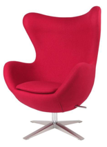 99851004 Fotel Jajo inspirowany Egg szeroki wełna (kolor: czerwony)