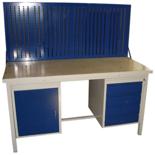 DOSTAWA GRATIS! 13340638 Stół warsztatowy z jedną szafką uchylną i jedną czteroszufladową + tablica SW (wymiary: 2000x700x850 mm)
