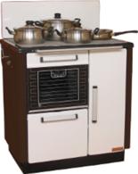 DOSTAWA GRATIS! 25942762 Kuchnia węglowa 9,2kW KATARZYNA z wężownicą, wylot spalin z tyłu z prawej strony (kolor: biały i brązowy)