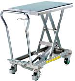 DOSTAWA GRATIS! 39955550 Wózek platformowy nierdzewny nożycowy (wymiary platformy: 815x500mm, udźwig: 200 kg, wysokość podnoszenia min/max: 288-880 mm)