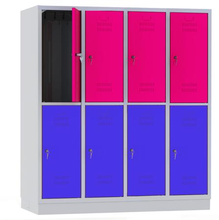 00141856 Szafa szkolna, 4 segmenty, 8 drzwi (wymiary: 1800x1590x480 mm)