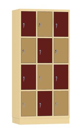 00141892 Szafa skrytkowa, 3 segmenty, 12 skrytek (wymiary: 1950x900x480 mm)