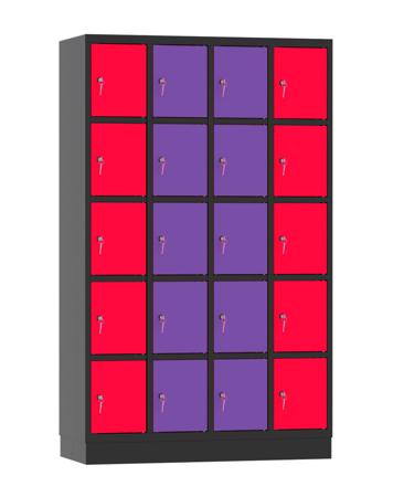 00141898 Szafa skrytkowa, 4 segmenty, 20 skrytek (wymiary: 1950x1190x480 mm)