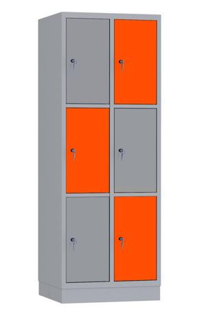 00141906 Szafa skrytkowa, 2 segmenty, 6 skrytek (wymiary: 1950x710x480 mm)