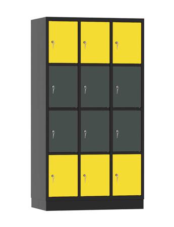 00141912 Szafa skrytkowa, 3 segmenty, 12 skrytek (wymiary: 1950x1050x480 mm)