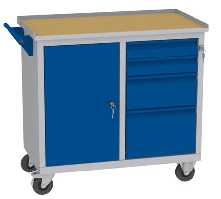 00142045 Wózek narzędziowy, 1 drzwi, 4 szuflady (wymiary: 860x950x505 mm)