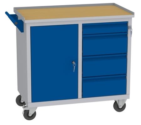 00142046 Wózek narzędziowy, 1 drzwi, 4 szuflady (wymiary: 860x950x505 mm)