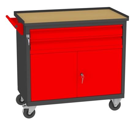 00142050 Wózek narzędziowy, 2 drzwi, 2 szuflady (wymiary: 860x950x505 mm)