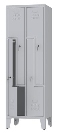 00150390 Szafa ubraniowa L na nogach, 2 segmenty, 4 drzwi (wymiary: 1860x610x480 mm)