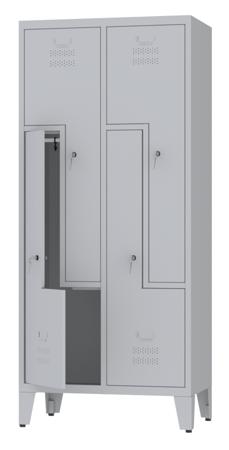 00150399 Szafa ubraniowa L na nogach, 2 segmenty, 4 drzwi (wymiary: 1860x810x480 mm)