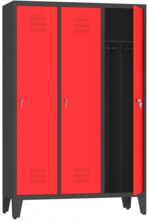 00150406 Szafa ubraniowa na nogach, 3 segmenty, 3 drzwi (wymiary: 1860x1200x480 mm)