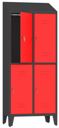00150425 Szafa ubraniowa na nogach i daszek, 2 segmenty, 4 drzwi (wymiary: 2050x810x480 mm)