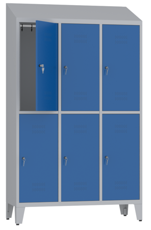 00150426 Szafa ubraniowa na nogach i daszek, 3 segmenty, 6 drzwi (wymiary: 2050x1200x480 mm)