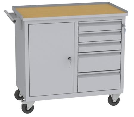00150647 Wózek narzędziowy, 1 drzwi, 5 szuflad (wymiary: 860x950x505 mm)