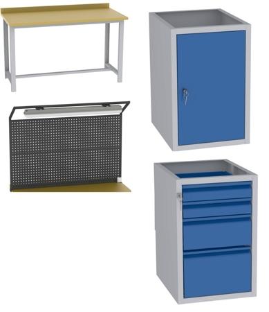 00151318 Stół warsztatowy + 2x szafka warsztatowa + tablica perforowana wysoka + zawieszka do kluczy/młotek