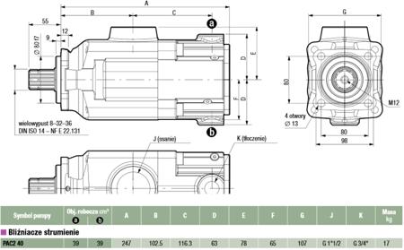 01539128 Pompa hydrauliczna tłoczkowa dwustrumieniowa Hydro Leduc PAC2 40 (objętość geometryczna: 39+39 cm³, maksymalna prędkość obrotowa: 1300 min-1 /obr/min)