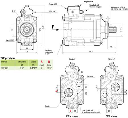 01539142 Pompa hydrauliczna tłoczkowa o zmiennej wydajności Hydro Leduc TXV120 (objętość geometryczna: 120 cm³, maksymalna prędkość obrotowa: 2100 min-1 /obr/min)
