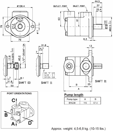 01539171 Pompa hydrauliczna łopatkowa B&C B1G30 BBA01 (objętość geometryczna: 9,82 cm³, maksymalna prędkość obrotowa: 4000 min-1 /obr/min)