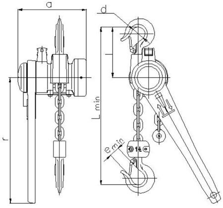 22021305 Wciągnik łańcuchowy dźwigniowy z łańcuchem ogniwowym Z310/0.5t (wysokość podnoszenia: 10,5m, udźwig: 0,5 T)