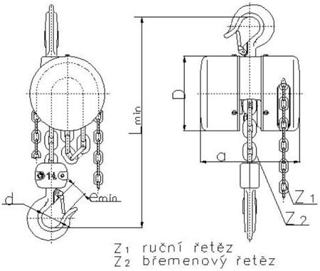 2202693 Wciągnik łańcuchowy z przekładnią planetarną Z100/1.0t (wysokość podnoszenia: 3m, udźwig: 1 T)