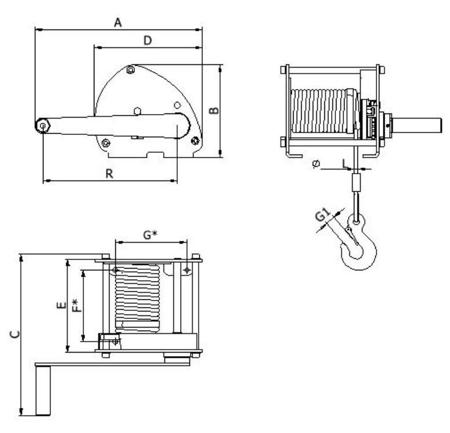 2203176 Wciągarka linowa LN/0.5t-S (długość liny: 10m, udźwig: 0,5 T)