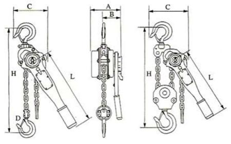 22043656 Wciągnik łańcuchowy z dźwignią ZKS 3,0 1,5M (wysokość podnoszenia: 1,5m, udźwig: 3 T)
