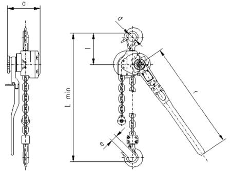 2209140 Wciągnik dźwigniowy z łańcuchem ogniwowym RZC/3.2t (wysokość podnoszenia: 5,5m, udźwig: 3,2 T)