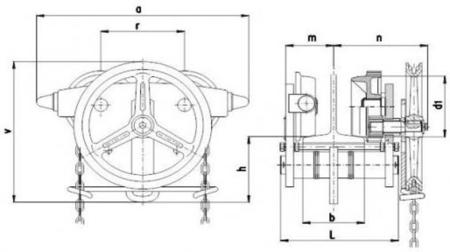 2209158 Wózek jedno-belkowy z napędem ręcznym Z420-A/7.5t/3m (wysokość podnoszenia: 3m, szerokość dwuteownika od: 125-185mm, udźwig: 7,5 T)