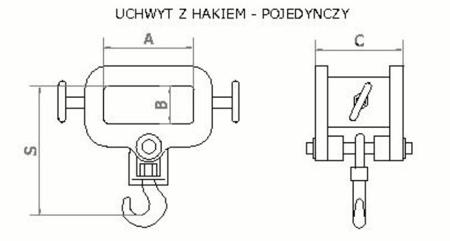 2903547 Uchwyt z hakiem (pojedynczy) (2000kg)