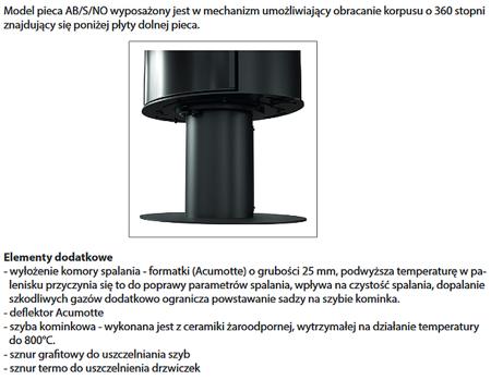 30055007 Piec wolnostojący koza 8kW AB STAL NOGA OBROTOWY GLASS z wylotem spalin fi 150 (z panelami kaflowymi - czarny)