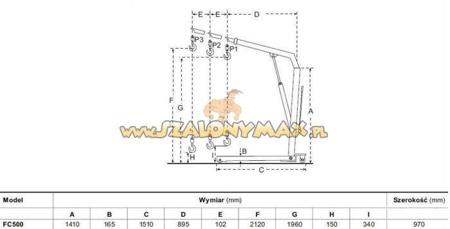 310667 Żurawik warsztatowy składany FC500 (udźwig: 500 kg)