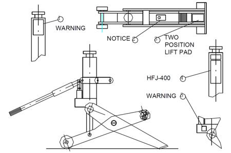 3109790 Podnośnik hydrauliczny wózków widłowych HFJ-400A (udźwig: 4 T)