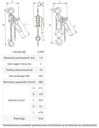 33948569 Wciągnik łańcuchowy MKS 6,0 3m (udźwig: 6000 kg, wysokość podnoszenia: 3 m)