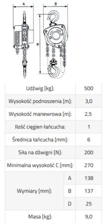 33948573 Wciągnik łańcuchowy ze stali nierdzewnej inox SBE INOX 0,5 3m (udźwig: 500 kg, wysokość podnoszenia: 3 m)