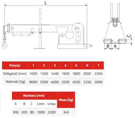 33948656 Trawers do wózka widłowego miproFork TWZ 8000 (udźwig: 8000 kg)