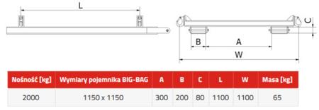 33948679 Trawersa do pojemników BIG-BAG do wózka widłowego miproFork TWL 1200 (udźwig: 2000 kg, wymiary pojemnika: 1150x1150 mm)