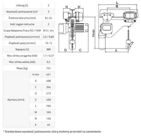 33948814 Wciągnik łańcuchowy elektryczny ELL 2 (udźwig: 2 T, wysokość podnoszenia: 3 m)