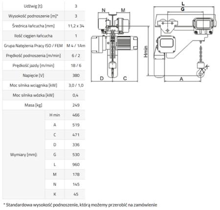 33948815 Wciągnik łańcuchowy elektryczny ELL 3 (udźwig: 3 T, wysokość podnoszenia: 3 m)