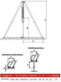 33960122 Trójnóg miproCrane OMEGA 100 z wciągnikiem łańcuchowym ręcznym (udźwig: 2000 kg)