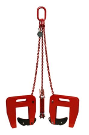 3398554 Zawiesie łańcuchowe 3-cięgnowe zakończone uchwytami do podnoszenia kręgów betonowych GDA 1,5 (udźwig: 1,5 T, zakres chwytania: 40-120 mm)