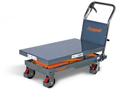 44340149 Stół nożycowy z podnośnikiem hydraulicznym Unicraft FHT 500 (udźwig: 500 kg, wymiary platformy: 855x500 mm)