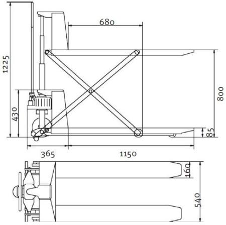 44340162 Nożycowy wózek paletowy z mobilną platformą podnośną Unicraft PHH 1001 (udźwig: 1000 kg)