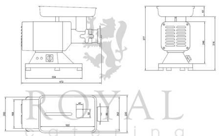 45643466 Wilk do mięsa Royal Catering RCFW 120PRO (moc: 850W, wydajność przybliżona: 120-200kg/h)