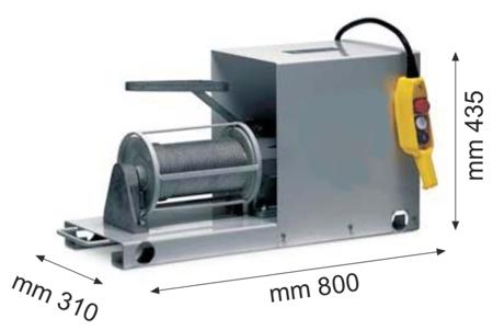 55547205 Wciągarka budowlana elektryczna Bellussi HG 200 Inverter - 5 prędkości pracy wciągarki, montowana do podłoża (udźwig: 200 kg, długość liny: 50-100m)