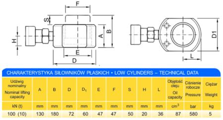 62753999 Siłownik płaski (wysokość podnoszenia min/max: 130-180mm, udźwig: 10T)